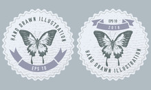 Monochrome Labels Design With Illustration Of Papilio Ulysses