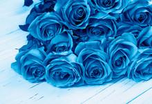 Blue Color Roses Bouquet On Wo...