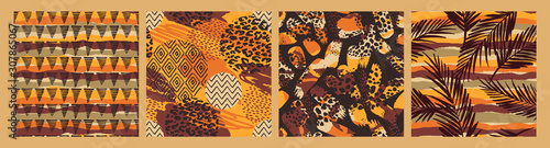 Set of Tribal ethnic seamless patterns with animal print, brush strokes and palm leaves Fototapeta
