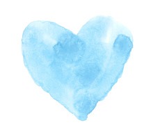 Watercolor Painted Blue Heart, Hand Draw Element For Your Design.