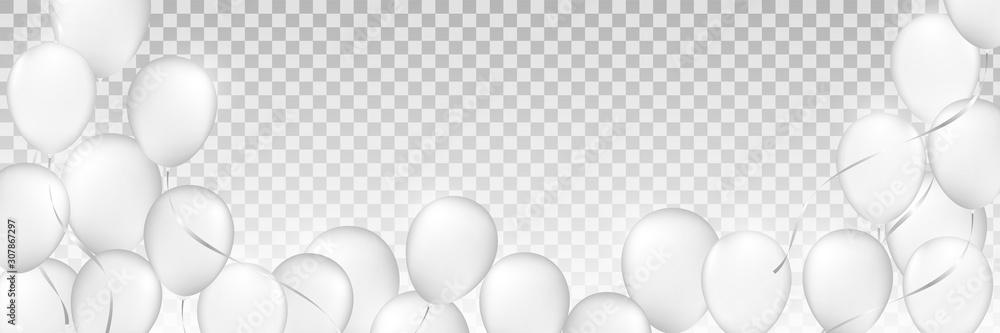 białe balony, białe dmuchane piłki, plastikowa piłka, tło białych i szarych kół, świąteczne tło balonów monochromatyczne, <span>plik: #307867297 | autor: DeepMeta</span>
