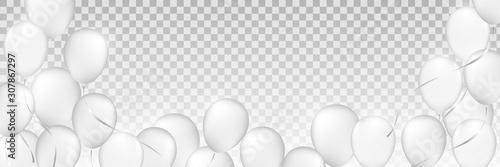 białe balony, białe dmuchane piłki, plastikowa piłka, tło białych i szarych kół, świąteczne tło balonów monochromatyczne,