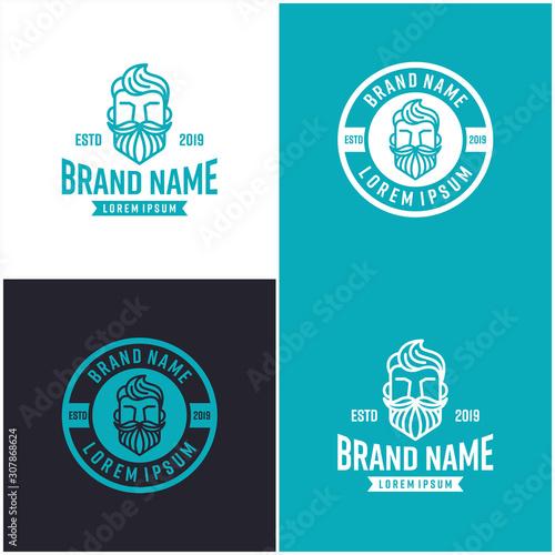 Foto  Beard Logo Design Vector Template