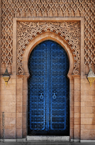 Arabic oriental styled door Classic Blue Pantone color in Morocco Wallpaper Mural