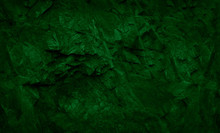 Green Abstract Grunge Background. Dark Green Stone Background. Toned Stone Texture. Moss And Mold On The Stones.