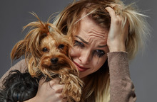 Woman With Dog Suffering From ...
