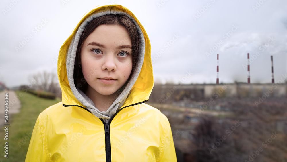 Fototapeta Teenager girl protesting climate change. Fridays for future