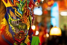 Ghost Dance Mask Of Thailand, Phi Ta Khon, Ghost Mask Festival Or Halloween Of Thailand