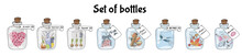 Set Of Vintage Glass Bottles W...