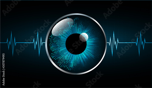 Foto Blue eye cyber circuit future technology concept background