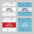 Stylish New year cards with black snowflakes on the blue and white background. Elegant square winter postcards. Vector illustration