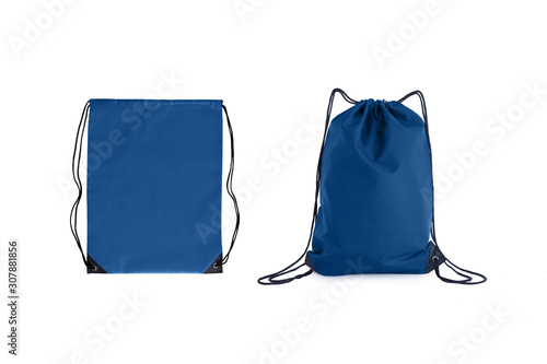 Set of classic blue drawstring packs template, bag for sport shoes isolated on white Canvas Print