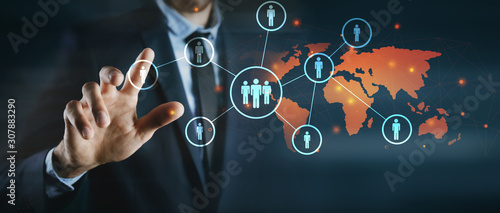 Fototapeta online business concept. global business contracts obraz