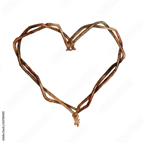 Valokuva  Heart made of wire old rust
