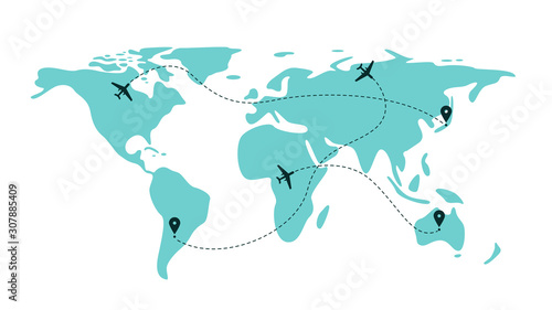 Fototapeta Airplane flight line paths going across blue world map - plane travel scheme obraz