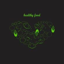 Healthy Food Background Illust...