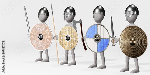 Photo 3D Render of Cartoon Character as Viking Warriors