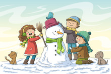 Three Kids Build A Snowman. Hand Drawn Vector Illustration With Separate Layers.