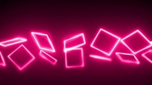 Abstract 3D Neon Square Line A...