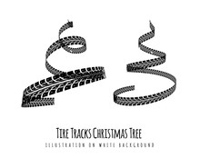 New Year Tree Made Of Tire Tracks Twisted In A Spiral Shape.  Vector 3d Illustration On A White Background.