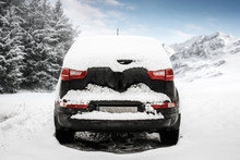Winter Car With Snow And Landscape Of Mountains. Free Space For Your Decoration And Winter Time.