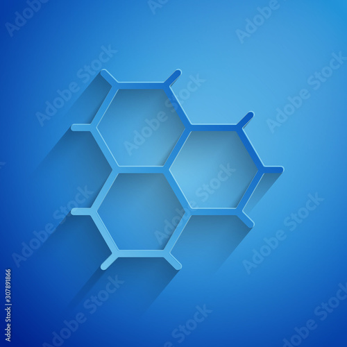 Paper cut Chemical formula consisting of benzene rings icon isolated on blue background Canvas Print