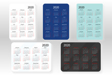 Horizontal And Vertical Set Of Vector Pocket Calendar 2020 Year. Minimal Business Simple Clean Design. English Grid, Week Starts From Sunday. White Black And Classic Blue Colors