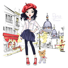Vector Cute Blond Girl In Red ...
