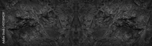 Black stone background. Dark gray rock background. Vintage texture. - 307894291