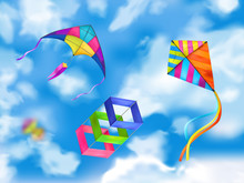 Realistic Kite Sky Composition