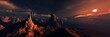 Mars, panorama of Mars, Martian landscape at sunset, alien landscape. 3d rendering.