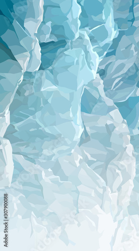 Vertical background of gradient blue ice blocks