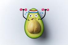 Avocado Cartoon Illustration, Cut Avocado And Cute Faces, Drawing Funny Face Avocado, Avocado Illustration