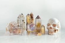 Set Gemstones Crystal Minerals For Relaxation And Meditation And Man Scull. Magic Crystal Ritual, Witchcraft, Relaxing Chakra, Aura Readings. Soft Focus