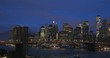 View of Brooklyn Bridge and Manhattan skyline in the morning, New York City, United States