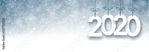 Fototapeta Grey 2020 New Year banner with snow. obraz