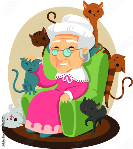 Old lady with cats
