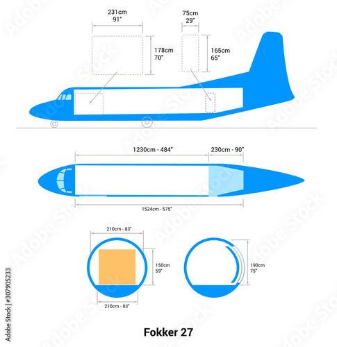 Fokker 27 airplane scheme. Cargo Aircraft Guide. Wallpaper Mural