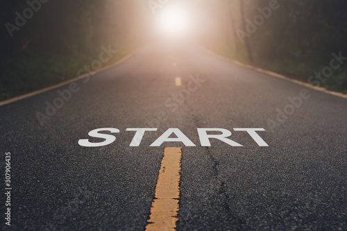 Conceptual image with word start on asphalt road .Start Your Life Canvas Print