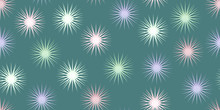 Seamless Pattern. Pink Blue Green And Yellow Snowflakes On Emerald Background