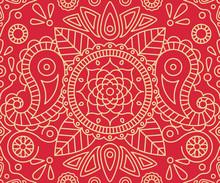 Paisley Elephant And Mandala Indian Seamless Pattern