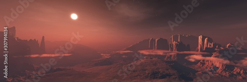 Fototapeta Mars, panorama of Mars, Martian landscape at sunset, alien landscape. 3d rendering. obraz