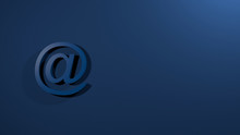 At Sign On Blue Background. @ 3D Render Text Colorful Isolated Headline Illustration. Icon Tag Symbol, Email Address, Internet Communication, Facebook, Instagram, Twitter, Gmail, Yahoo..