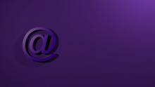 At Sign On Violet Background. @ 3D Render Text Colorful Isolated Headline Illustration. Icon Tag Symbol, Email Address, Internet Communication, Facebook, Instagram, Twitter, Gmail, Yahoo..