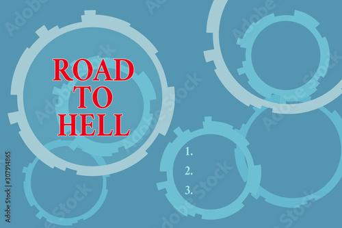 Text sign showing Road To Hell Wallpaper Mural