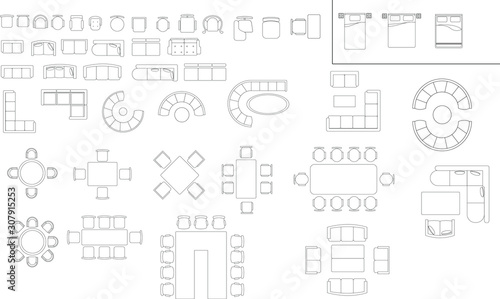 Set Of Vector Icons Chair Table And Bed For Floor Plan Stock Vector Adobe Stock