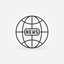 News Earth Globe Outline Icon....