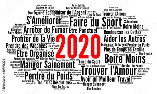 Résolutions 2020 nuage de mots Canvas Print