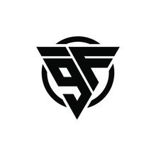 9F F9 Triangle Logo Circle Monogram Design Vector Super Hero Concept