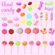 Hard candy colorful isolated illustration, cartoon style sweet candy vector clip art.